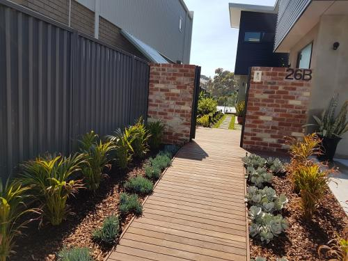 Entry statement - pathway plantings