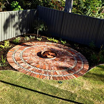 Reclaimed brick for fire pit in Floreat