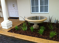 Mulched Garden Beds with water feature
